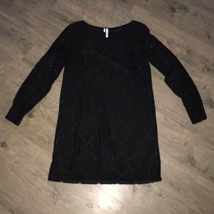 Black Lace Dressy Dress with Sheer lace sleeves